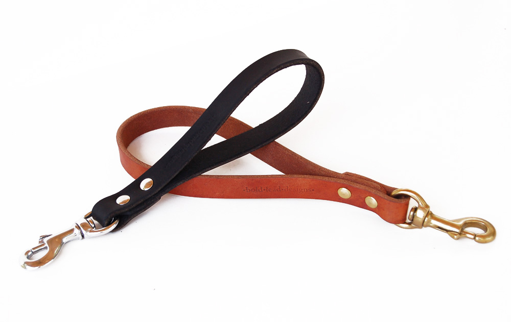 Traffic Lead Short Leather Dog Leash Handle