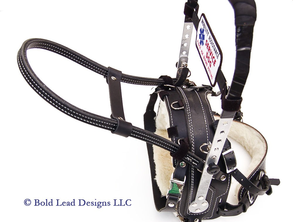 Leather Guide Dog Harness Handle For Mobility And Balance