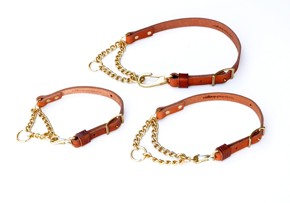 Martingale Collar Adjustable Leather And Chain