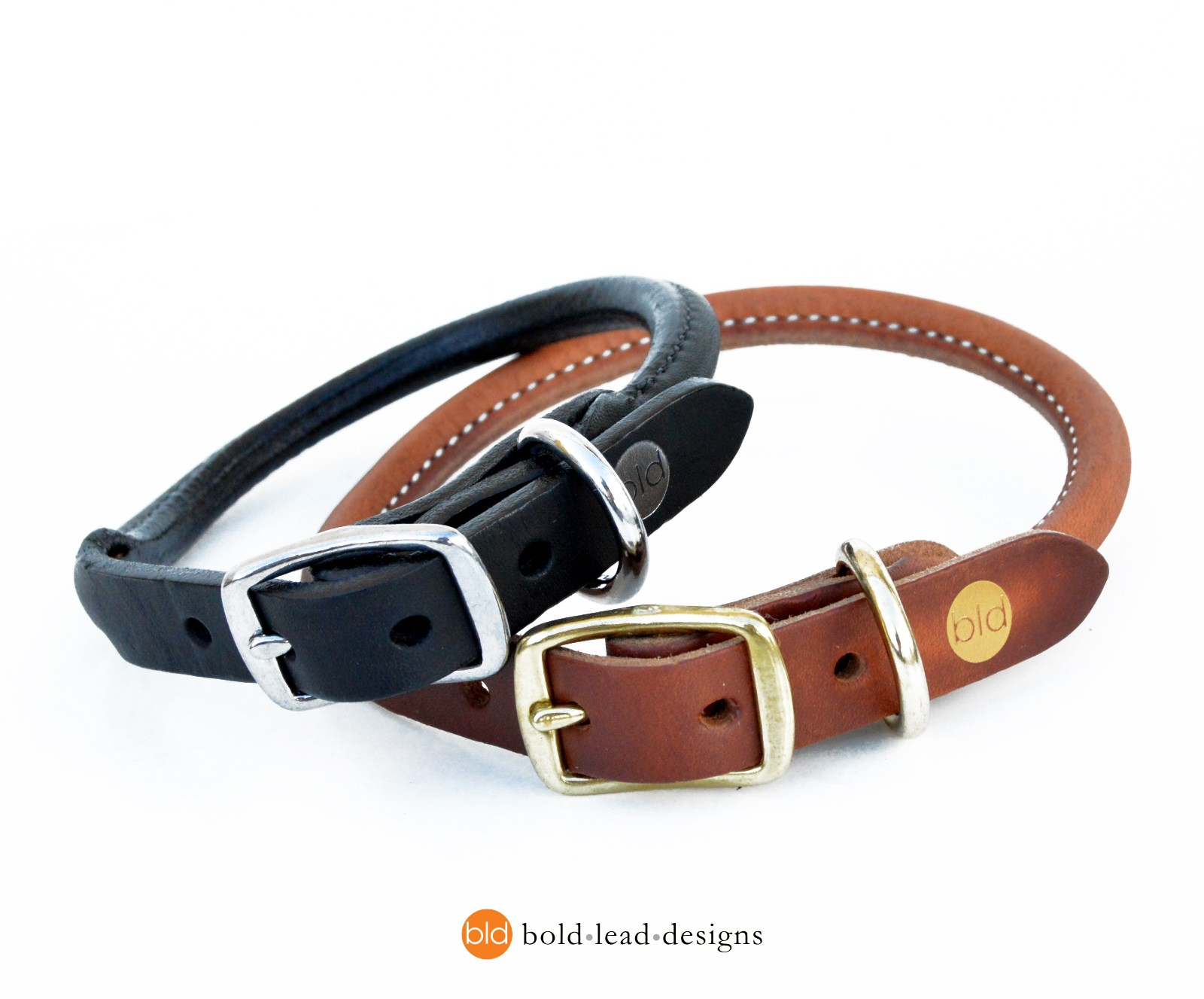 Black Rolled Leather Dog Collars